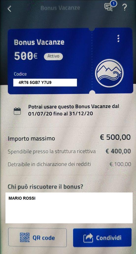Attivazione del bonus vacanze